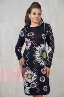 Платье женское 2210 Фемина (Темно-синий/оранжевый/белый/яркая фисташка)